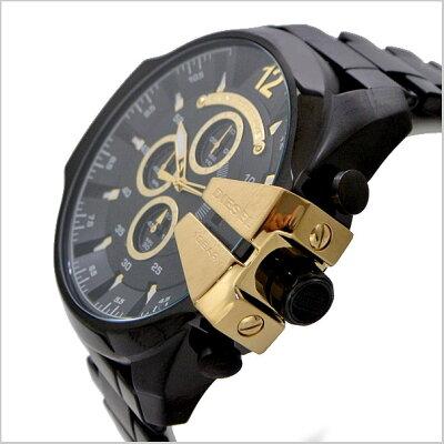 ディーゼルDIESELクロノグラフ腕時計メガチーフMEGACHIEFメンズ/ブラックIPxゴールドDZ4338【送料無料】