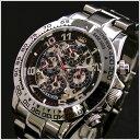 【正規品】J.HARRISON(ジョンハリソン)多機能両面スケルトンタイプ機械式腕時計91%OFF JH-003RB(ブラック)