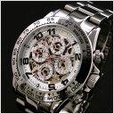 【正規品】J.HARRISON(ジョンハリソン)多機能両面スケルトンタイプ機械式腕時計91%OFF JH-003SW(ホワイト)