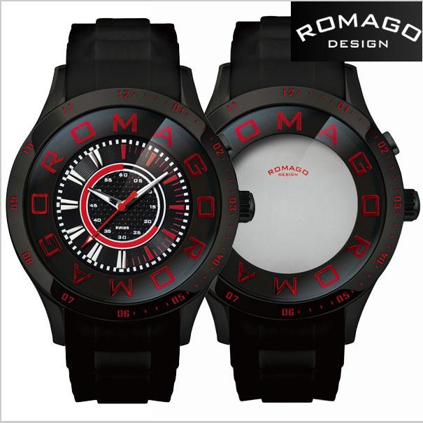 ロマゴデザイン腕時計 ROMAGO時計 ROMAGO DESIGN 腕時計 ロマゴ デザイン 時計 ATTRACTION (アトラクション)ミラーウォッチ シリコンラバーベルト/ブラック x レッド文字盤 RM015-0235PL-BK【送料無料】