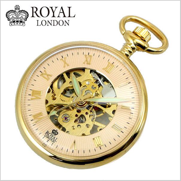 【ロイヤルロンドン】【ROYAL LONDON 】懐中時計 ポケットウォッチ/機械式(手巻き)スケルトン・メンズ・ゴールド(チェーン付)90002-03【送料無料】