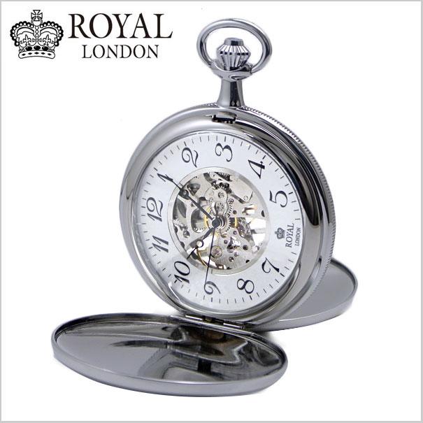 【ロイヤルロンドン】【ROYAL LONDON 】懐中時計 ポケットウォッチ/機械式(手巻き)蓋付き・両面スケルトン・メンズ・シルバー(チェーン付) ロイヤルロンドン 90004-02【送料無料】