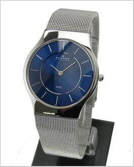 SKAGEN (scar gene) men's watch ultra slim (mesh belt navy clockface) 57%OFF 233LSSN