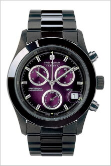 SWISS MILITARY ( swismiglitary ) PVD BLACK ビッグクロノ violet dial (men) genuine, 20% off ML-285