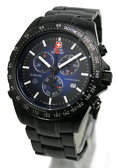 Swiss military watches SWISS MILITARY ブラックナビゲーター blue dial (men) (regular products) ML-202B