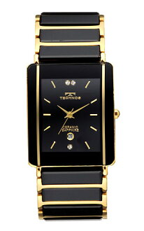 (regular article) TAM530GB for TECHNOS (テクノス) stainless steel x ceramic belt watch, lindera board, gold index / men