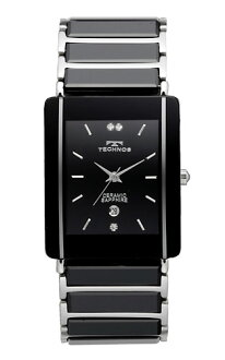 TECHNOS ( technos ) stainless steel x ceramic belt watch, black dial, silver index / men's genuine, TAM530TB