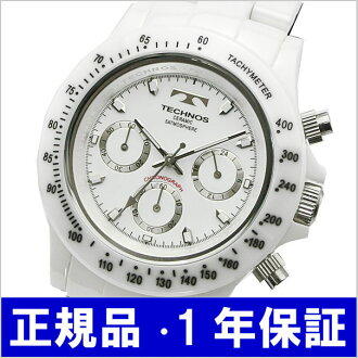 テクノス TECHNOS watch chronograph men ceramic / white T1-W