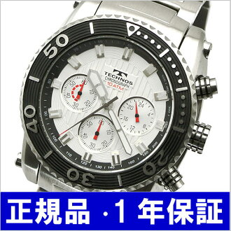 テクノス TECHNOS watch 10 standard atmosphere waterproofing diver chronograph men silver T2-S