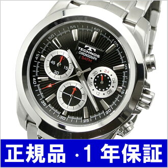 テクノス TECHNOS watch chronograph men black T3-B
