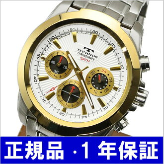 テクノス TECHNOS watch chronograph men silver / gold T3-S
