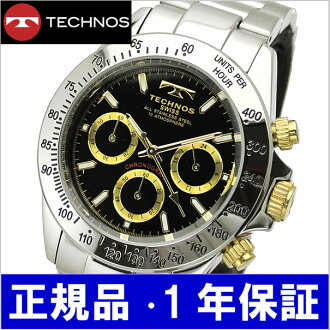 TECHNOS watch chronograph men black / gold TGM615-LB