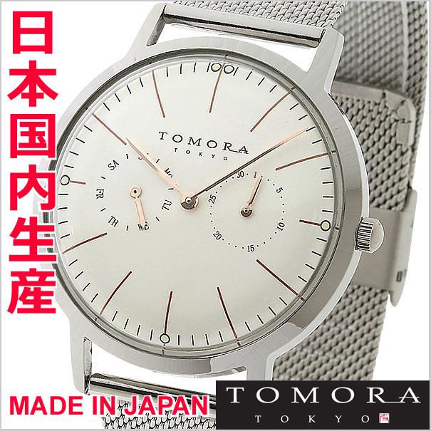TOMORA TOKYO トモラ トーキョー 腕時計 マルチカレンダー/メッシュベルト・メンズ ホワイト x ローズゴールド【国内正規品】 T-1603-PWH 【日本製】【メイドインジャパン】【TOMORA TOKYO 】
