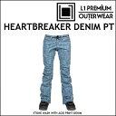 17-18 L1 エルワン ウエア HEARTBREAKER DENIM PANTS ハートブレーカー デニム パンツ STONE WASH WITH ACID PRINT DENIM L1TA リタ レディース align=