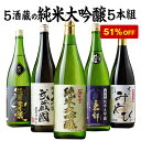【51%OFF】5酒蔵の純米大吟醸飲みくらべ一升瓶5本組 純...