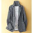 ブロックチェック柄テーラードジャケット(3L〜5L) ベルーナ 【ミセス 40代 50代 レディース ファッション】【大きいサイズ】