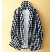 ブロックチェック柄テーラードジャケット(M〜LL) ベルーナ 【ミセス 40代 50代 レディース ファッション】