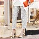ストライプ柄パンツ ベルーナ べるーな  30代 ファッション レディース アウトレット【再販売】