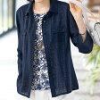≪2016夏新着≫プリント使いシャドーチェックジャケットアンサンブル(M〜LL) ベルーナ【40代 50代 60代 レディース ミセス ファッション】
