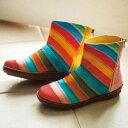 防水レインボーカラーシューズ ショートブーツ ベルーナ べるーな Ranan ラナン 40代 30代 ファッション レディース アウトレット【靴】【夏SALE】