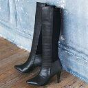 ブーツ /S(22.5cm)/M(23.0〜23.5cm)/LL(24.5cm)/L(24.0cm)ストレッチ異素材使いロングブーツ ベルーナ 40代 50代 ...