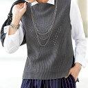 編地切替ニットベスト(S〜LL) ベルーナ【40代 50代 60代 レディース ミセス ファッション】【2016秋新着】