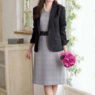 チェックワンピアンサンブル ベルーナ ファッション レディース アウトレット フォーマル