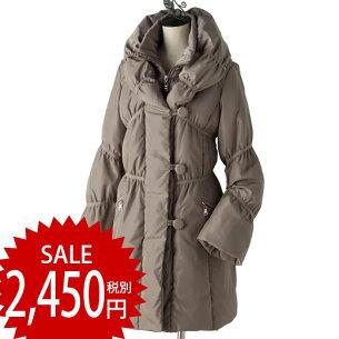 ギャザーデザインファイバーダウンコート ベルーナ レディース ファッション