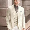 ジャケット メンズ 夏 S M LL L 3Lサイズ大胆な裏面プリントがお洒落な綿麻ジャケット。トロ...