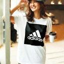 楽天ベルーナカットソーS M <adidas>ビッグスクエアロゴTシャツ ベルーナ ラナン Ranan 30代 40代 ファッション レディース 女性カットソー 長袖 レディース 女性 adidas アディダス スポーツブランド