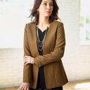 ジャケット 秋 冬 M LL Lサイズ 洗える軽量!ウール入素材ノーカラージャケット(M〜LL) ベルーナ 40代 50代 60代 レディース ミセス ファッション