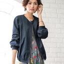 ブルゾン 春 M LL Lサイズ袖リブデザインブルゾンジャケット(M〜LL) ベルーナ Belluna 40代 50代 60代 レディース ミセス ファッション