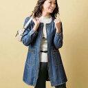 ハーフコート 春 M LL Lサイズデニムボンディング素材デザインコート(M〜LL) ベルーナ 40代 50代 60代 レディース ミセス ファッション..