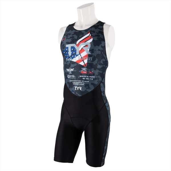 【ティア】 メンズ トライアスロンスーツ バックジッパ— [サイズ:M] [カラー:ブラック] #SMST1-19S 【スポーツ・アウトドア:トライアスロン】【TYR TRI-SUIT FOR SHORT COMP MENS/BACK ZIPPER】