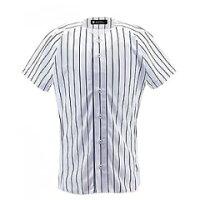 【デサント】 野球用 ユニフォームシャツ フルオープンシャツ(ピンストライプ) [カラー:Sホワイト×ネイビー] [サイズ:XA] #DB-7000 【スポーツ・アウトドア:野球・ソフトボール:ウェア:競技用ユニフォーム】【DESCENTE】の画像
