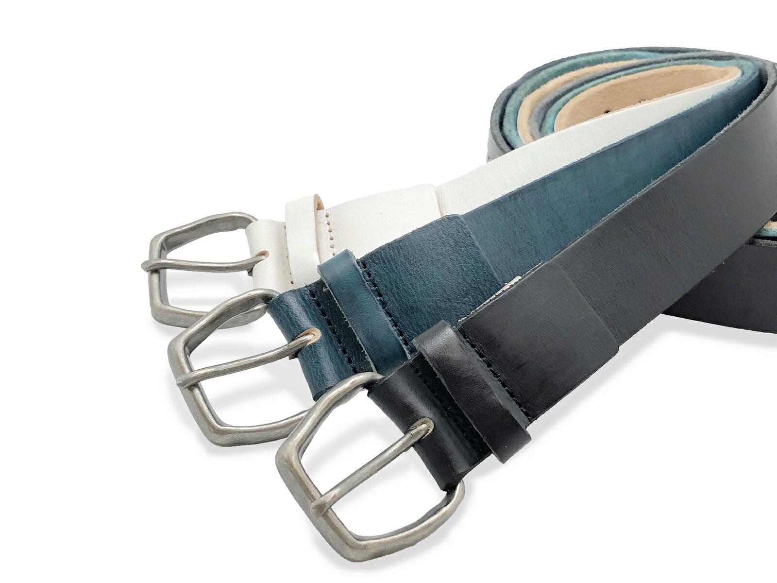 ファルシオ パンチング スタッズ 一枚物ベルト メンズ/ユニセックス ブラック/ブルー/ホワイト 本革 牛革 ビンテージベルト SB-067