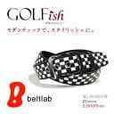 【GOLFish -ゴルフィッシュ-】まるでチェッカーフラッグ!黒と白の四角が並んだチェック模様がパッと目を引いて、プレイ中にチラ見せしたくなる。ゴルフウェアにアクセント、ゴルフをスタイリッシュに楽しむメンズベルト。「BL-GI-0018」