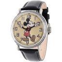 【1-2日以内に発送!】ディズニー Disney ミッキーマウス 腕時計 ヴィンテージ ビンテージ 大人 男性用 メンズ [並行輸入品] Mickey Mouse Men's Antique Silver Vintage Alloy Watch, Black Leather Strap クリスマス 誕生日 プレゼント ギフト