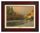 【取寄せ】 風景 景色 自然 絵画 絵 アート キャンバス インテリア 装飾 デザイン 壁 額付き フレーム付き (Brandy Frame) Thomas Kinkade トーマスキンケード [並行輸入品] Thomas Kinkade Autumn Snow - Canvas Classic (Brandy Frame) グッズ ストア プレゼント ギフ