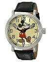 【1-2日以内に発送】ディズニー Disney ミッキーマウス 腕時計 ヴィンテージ ビンテージ 大人 男性用 メンズ [並行輸入品] Mickey Mouse Men's Vintage Watch, Black Strap クリスマス 誕生日 プレゼント ギフト