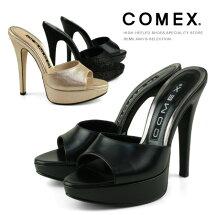 COMEXミュールサンダルピンヒールヒール14cmオープントゥ厚底ラメ本革サンダルミュール2011新作コメックス靴
