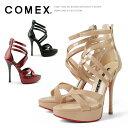 コメックス サン� ル ハイヒール ヒール13cm ピンヒール アンクルストラップ グラディエーター エナメル ヒール (5377) 美脚 結婚式 靴
