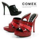 COMEX ミュール 13cmヒール ピンヒール パイソンコンビ 厚底 サンダル コメックス 靴 (5357)【】【楽ギフ包装】 2015春夏新作