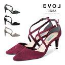 EVOL パンプス ポインテッドトゥ クロスストラップ ピンヒール ヒール7cm スエード イリマ ヒール (7271) 結婚式 パーティ 靴 【送料無料】