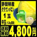 静岡産 クラウンメロン 中玉(1.2キロ前後)1玉 箱入り「...
