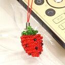 ◆キュートな手作り風♪/ビーズのイチゴ/ストロベリーストラッ...