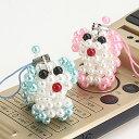 ◆かわいい手作り風♪/ビーズの犬ストラップ/2色から選べます【福袋価格】【RCP】