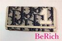 クリスチャン ディオール Christian Dior 4連 キーケース トロッター ネイビー ホワイト 紺 白 PVC レザー ロゴ キーホルダー アクセサリー 小物 メンズ レディース  【中古】 bc990