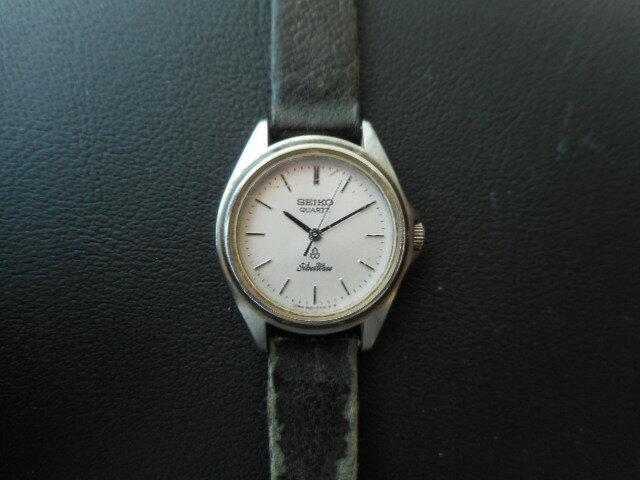 セイコー レディース腕時計 ウォッチ クォーツ SS/レザー 3421-0030 黒×シルバー【中古】ht849