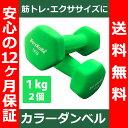 【送料無料】 カラー ダンベル 1kg グリーン 2個セッ